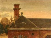 figures on a roof-top, the dome of the church of the holy trinity beyond by pierce rice