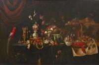 stilleben med frukter, blommor, skaldjur och fåglar by jan pauwel gillemans the younger