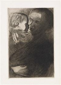 frau mit übereinandergelegten händen * frauenkopf * mutter mit kind auf dem arm * selbstbildnis * der trauernde (5 works) by käthe kollwitz