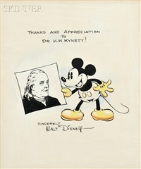 mickey mouse and ben franklin, with walt disney letter by walt disney