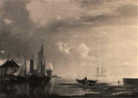 segelschiffe im hafen by adolf friedrich vollmer
