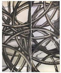 untitled diptych (nickel plate) (in 2 parts) by aaron young