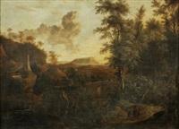 landskap med bro och figurer by frederick de moucheron