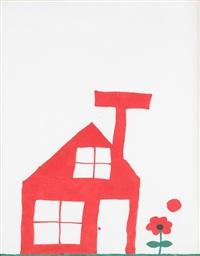 untitled (red house with flower) by christopher knowles