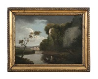figures in a rowboat in a river landscape, with a rocky outcrop and a country house beyond by george barret