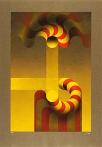 modulation jaune - modulation bleue (2 works) by julio le parc