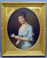 portrait of a lady in blue dress golding a rose and a letter by anonymous (19)