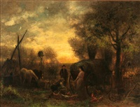 end of the day at the farm by charles henry miller