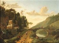 ideale italienische flußlandschaft mit einer brücke by arien ocker