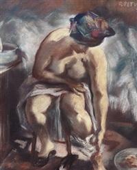 sitzender weiblicher akt, sich waschend by rudolf petuel