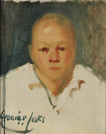 portrait of a clown without face paint by george benjamin luks