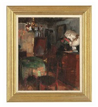 the artist's studio by herman albert gude vedel