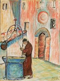 mönch in einem italienischen klosterhof am sodbrunnen wasser schöpfend - eremo delle carceri, bei assisi by marianne werefkin