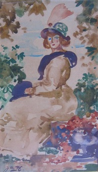 a female figure seated in an arbour by james watterston herald