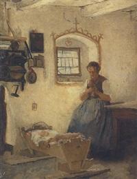 bäuerin an der wiege by alois gabl