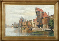 harbour scene from gdansk (danizig) in poland by reinhold bahl