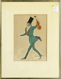 costume design for paganini in enchanted night (4 works) by leon bakst