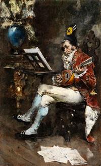 höfischer mandolinenspieler by giovanni boldini