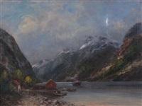 fjordlandskap med båter by sigvald simensen