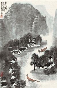 鱼米之乡 立轴 纸本 by li keran
