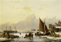 wintertag an der holländischen küste by johannes franciscus hoppenbrouwer and johan hendrik louis meijer