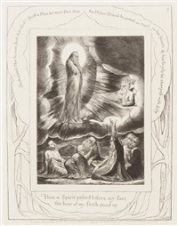 chine applique/illustrations for the book of job no. 9 by william blake