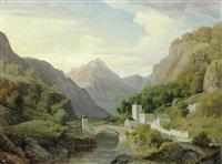 bjerglandskab med slot ved en flod by carl anton saabye