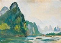 兴平漓江晨渡 (li river landscape) by qin xuanfu