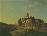 ein pferdeknecht mit drei saumtieren und seinem hund auf dem weg zu der klosteranlage am see in der ferne by karl lieske