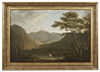 lake landscape with castle by george barret