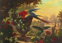 papegojor i parklandskap by françois frédéric grobon