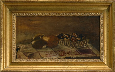 still life of pears and shelled walnuts by julian alden weir