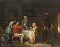 saloninterieur. die familie hat sich um den tisch versammelt by jacob akkersdijk