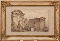 ruins of a roman temple by hubert robert