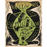 two linocuts for exposition de vallauris 1954 and 1955 by pablo picasso