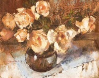 still life with coral roses by irmin henkel