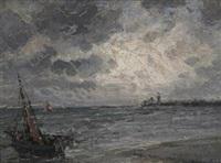 künstlandschaft bei aufkommendem wetter, im vordergrund ein fischerboot by jan van de venne