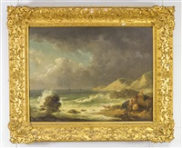 fishermen on a rocky shore by george morland