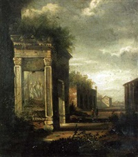 a classical landscape with figures on a path by richard. wilson