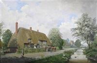 rockbourne, cottages by the river by reginald ernest arnold