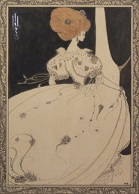 elegant figure by a curtain by aubrey vincent beardsley