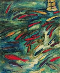 玉泉观鱼 (viewing fish at yuquan) by liu haisu