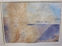 st. kilda's from scarp - bright light on the sea (+ 2 others; 3 works) by norman adams
