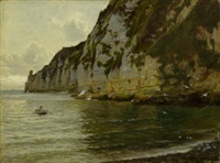 rocky coastal scene with a figure in a rowing boat by blandford fletcher