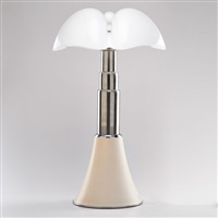 pipistrello table lamp and base, white shade by gae aulenti