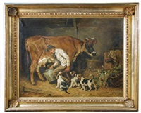 stealing the milk, with hound puppies, a milkman and cow by john emms