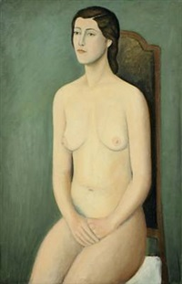seated nude woman by erik mauritz plessen