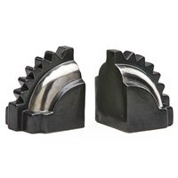 rare gear-shaped bookends (pair) by albert f. jacobson