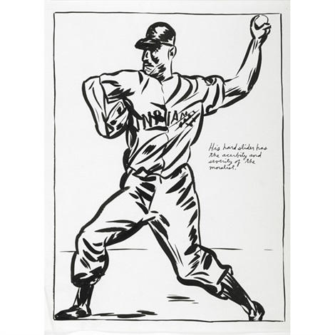 untitled his hard slider has the acerbity and severity of the moralist by raymond pettibon