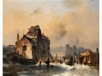 winterliche stadtlandschaft mit verfallenen gebäuden by jean (jan) michael ruyten